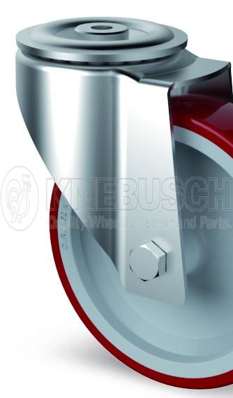 Edelstahl-Transportgeräte-Lenkrolle L41/TPL/080/0/R3 mit Rückenloch-Aufnahme