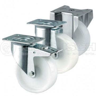 Lenkrolle mit Totalfeststeller LTF40/NYL/080/0/R2 mit Rückenloch-Aufnahme