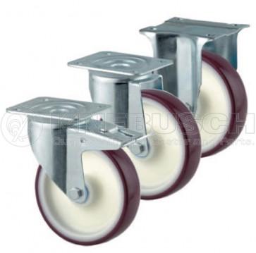Edelstahl-Transportgeräte-Lenkrolle mit Totalfeststeller LTF41/TPL/080/2/R3 mit Rückenloch-Aufnahme
